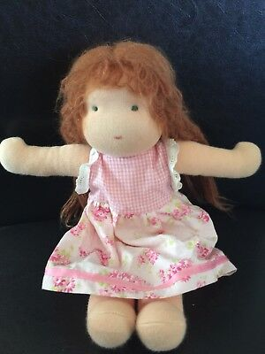 Waldorf Doll Kathe Kruse Germany Baby Red Hair Pink Dress expressionless