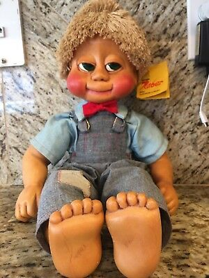RARE Vintage 1985 Max Naber Kids Wood Boy Doll SIGNED Original with Tag 18""