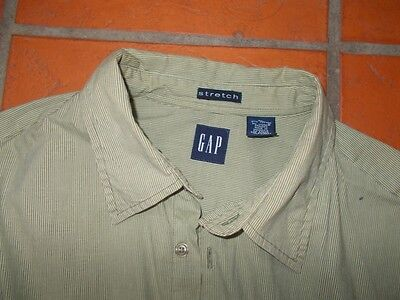 Gap mens shirt AS NEW long sleeve STRETCH Olive green stripped -  Size XL