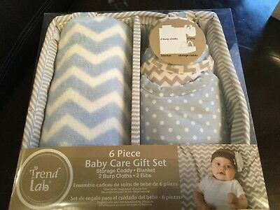 Trend Lab 6-piece Baby Care Gift Set Blue White FREE SHIPPING