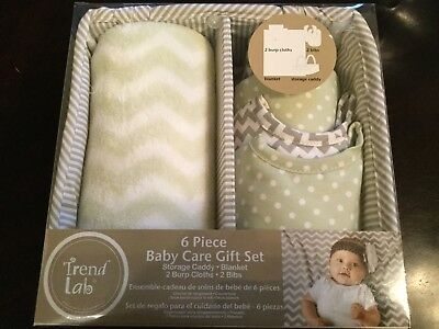 Trend Lab 6-piece Baby Care Gift Set Sage Green White FREE SHIPPING