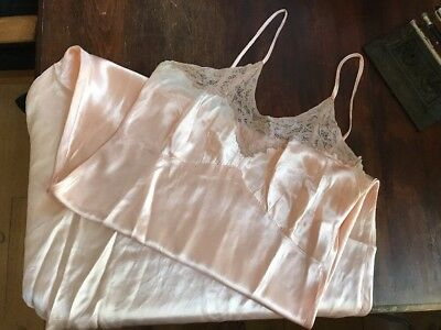 Lovely Soft Pink Antique Vintage Negligee Dress Slip w.Lace Intimate Silk Gown M