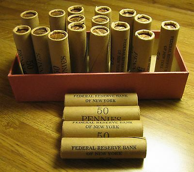 20 ROLLS OF 1960 P OBW LINCOLN MEMORIAL CENTS FROM PENNY COLLECTION 20pc BOX SET