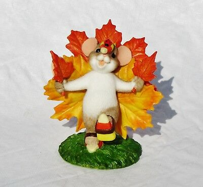 Nib Charming Tails #130459 Resin Fall Thanksgiving Mouse As A Maple Leaf Turkey