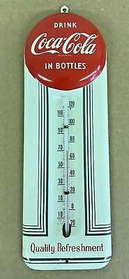 MINT 1950s Vintage COCA COLA EMBOSSED BUTTON Tin Thermometer Sign