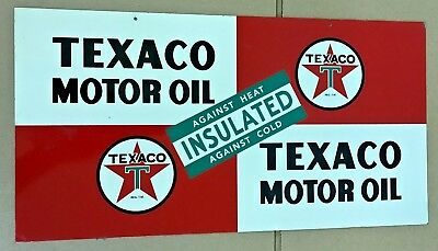 1948 Double Sided Texaco Motor Oil Porcelain Metal Sign