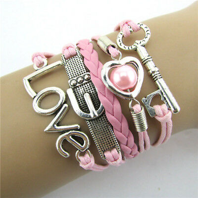 Pink Fashion Infinity Heart Pearl Love Key Leather Alloy Charm Bracelet Pink
