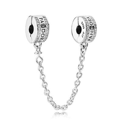 Genuine Pandora silver Bead Insignia CZ Safety Chain Charm 792057CZ