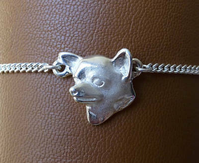 Sterling Silver Chihuahua Head Study Anklet