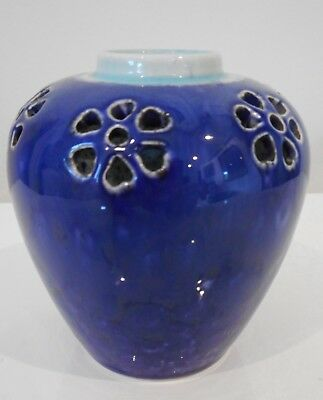 Antique English High Fired Blue Glazed Flambe Miniature Pottery Pot Ruskin 1906