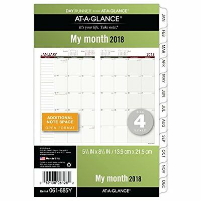 AT-A-GLANCE Day Runner Monthly Planner Refill January 2018 - December 2018 x 4