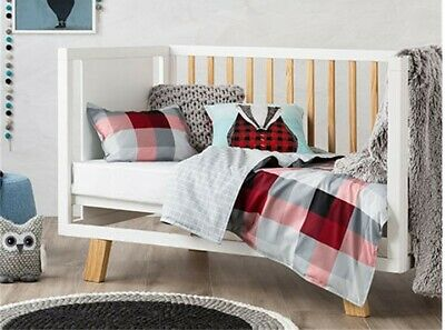ADAIRS KIDS Mr North Red/Black check COT (Junior Bed) QUILT COVER SET BNIP grey