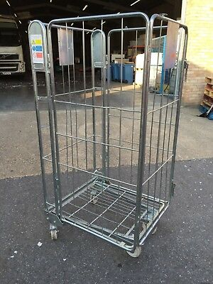 Metal Stackable Warehouse Storage Cages / Warehouse Trolley / Cages On Wheels