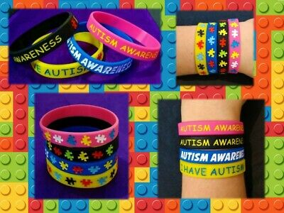 AUTISM Silicone Wristbands AWARENESS Support Jewellery ASD Jigsaw Alert MEDICAL