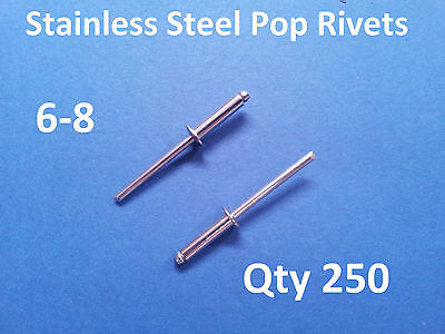 """250 POP RIVETS STAINLESS STEEL BLIND DOME 6-8 4.8mm x 17.2mm 3/16"""""""