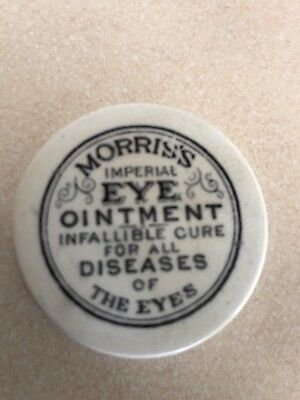 Antique Ointment Pot And Original Base. Morris's Eye Ointment.