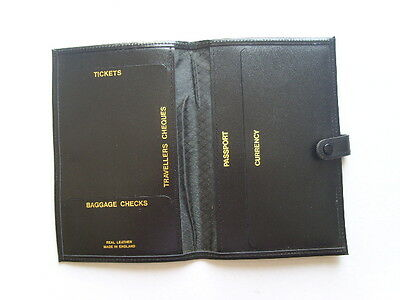 Vintage TRAVEL WALLET Black PASSPORT Ticket Holder LEATHER Stud UNUSED 18cm high