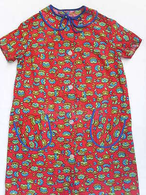 Vintage GIRL'S Child SHIRT DRESS 8-10 year FLORAL Cotton RED Summer Retro