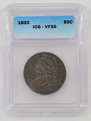 1832 Capped Bust Silver Half - ICG VF30 - strong strike looks XF