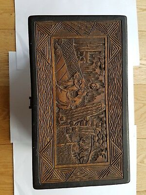 Vintage handmade oriental wooden box with lock and key