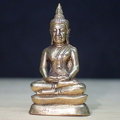 Buddha Meditation Statues Thai Amulet Wealth Rare Small Sitting Asian Figur
