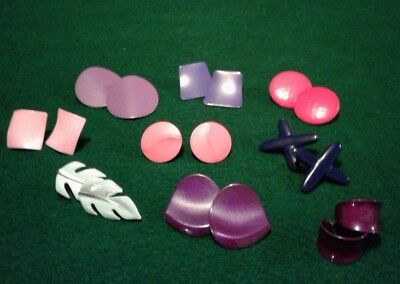 Lot Of 9 Vintage Retro Metal Pierced Earrings-Various Colors- Great Condition