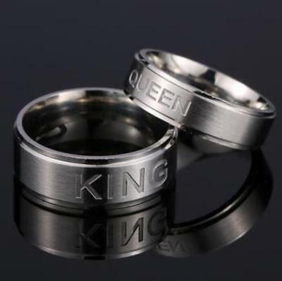 12x King and Queen Stainless Steel Rings Lovers Wedding Anniversary Jewelry