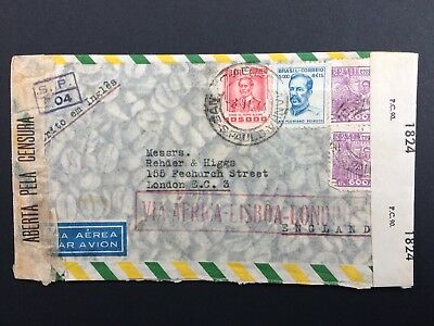 Brazil Stamp 3/11/1944 Air Mail Cover Via Africa To UK With 4 Stamps And Censor
