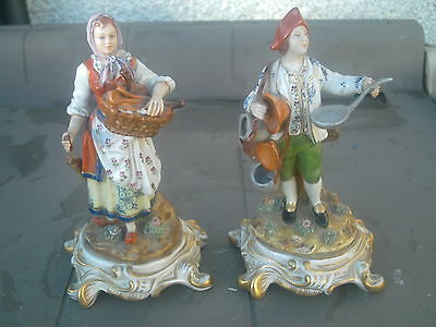 Pair Of Sevres French , Italian Figures Modette  A' La Main