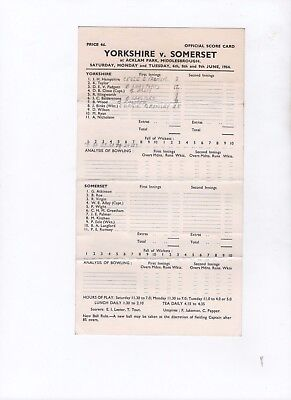 Yorkshire v Somerset 1964 @ Acklam Park.  Official scorecard