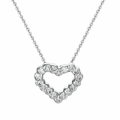 Heart Pendant Necklace 1.05 CT Natural Diamond Love Jewelry Real 18K White Gold