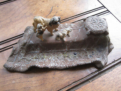 Victorian Spelter Ink Well with Cavalier King Charles Dog and Puppies