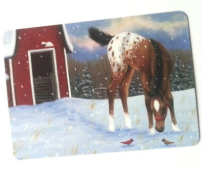 Swap / Playing Card ~ One Appaloosa Horse In Snow ~ Modern Wide ~ Linen