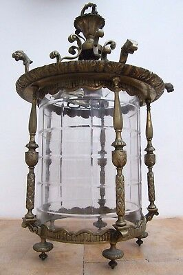 Large French Antique Reclaimed Brass Glass Hall Lantern Light Chandelier #57