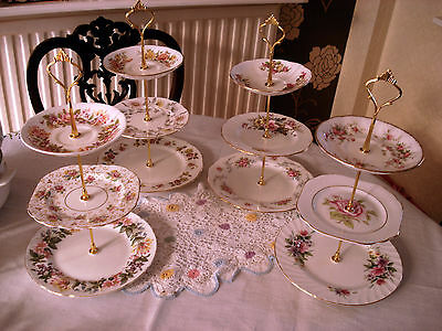 4 ..three Tier Cake Stands...shabby Chic  Pink Mismatch Vintage Plates.
