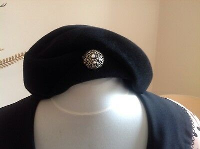 Ladies Original Classic 1940s Black Hat Fantastic Condition