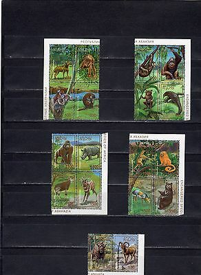1997 abkhazia fauna of 18 stamps in the coupler