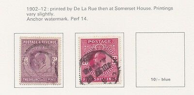 Lot:23514  GB EDVII  1902-12  SG260 2s6d Purple  SG263 5s red