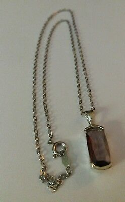 Sterling Chain & Amethyst Pendant