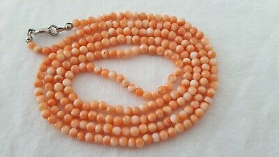 Raw Korallen Kette 13,6 Gramm Real Coral Necklace Beads Lachskoralle Vintage