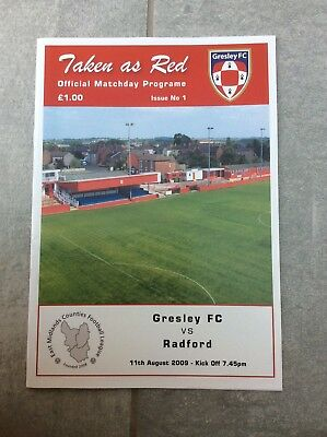 Gresley F.C. V Radford 11.8.09 - Collectable - First Game As Gresley F.C.