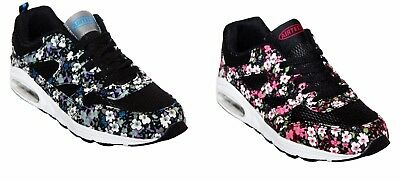 New Womens Lace Up Gym Running Jogging Ladies Sports Floral Trainers Shoes 3-8