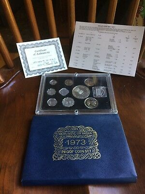 The Republic Of India Proof Set Uncirculated 1973 MINT 9 Coins