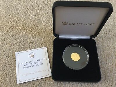 2017 TDC QUEEN's SAPPHIRE JUBILEE 9ct GOLD PROOF LIKE COIN - CASE & COA - A1