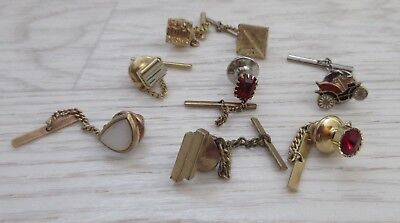 LOT of 8 VINTAGE pinch tie or lapel pin clips with safety catch car, red gem (4)