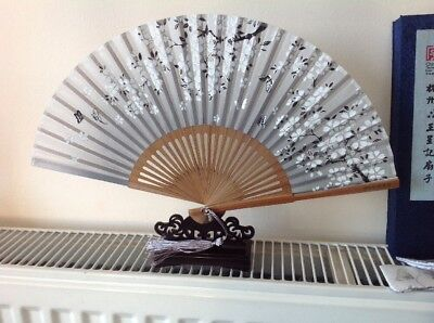 Beautiful Chinese Display Fan With Stand And Silk Holder