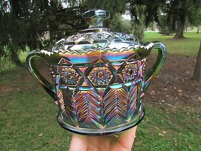 Cambridge INVERTED FEATHER ANTIQUE CARNIVAL GLASS COVERED CRACKER JAR~GREEN