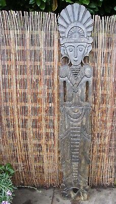 "Large Carved Panel Totem Pre Colombian Chimu Culture Viracocha  82"" Tall"
