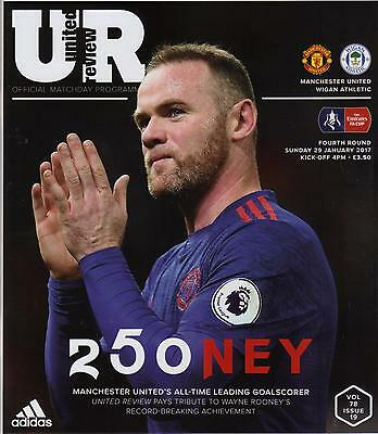2016/17  Manchester United  v  Wigan Athletic  MINT  +  T/S  +  Menu  Rooney 250