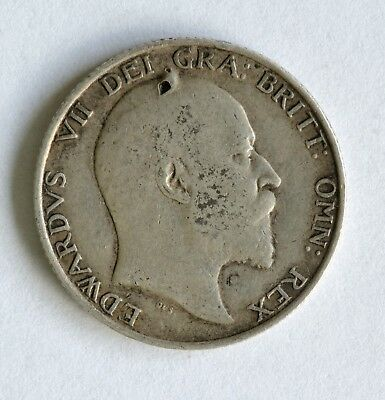 1902 Edward VII sterling silver shilling coin - British Silver Coin - A49